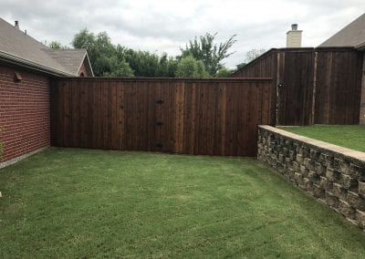 wood private fence with gate