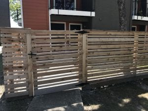 wood fence with gate