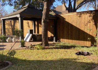 wood fence in backyard in texas