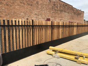 chain link wood fence