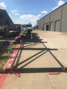 iron fence under construction
