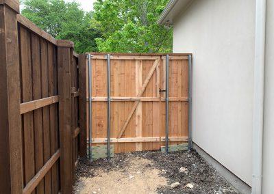 Board-on-board western red cedar wood fence gate, no stain